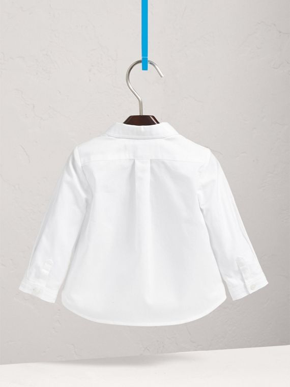 London Icons Cotton Oxford Shirt in White | Burberry - cell image 3