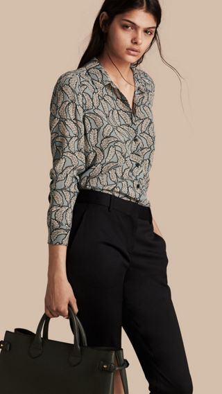 Leaf Print Silk Shirt