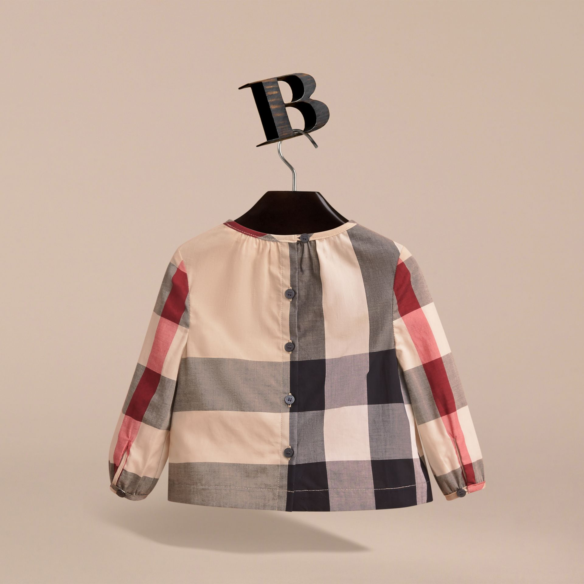 Ruffle Detail Check Cotton Top in New Classic | Burberry United Kingdom - gallery image 4
