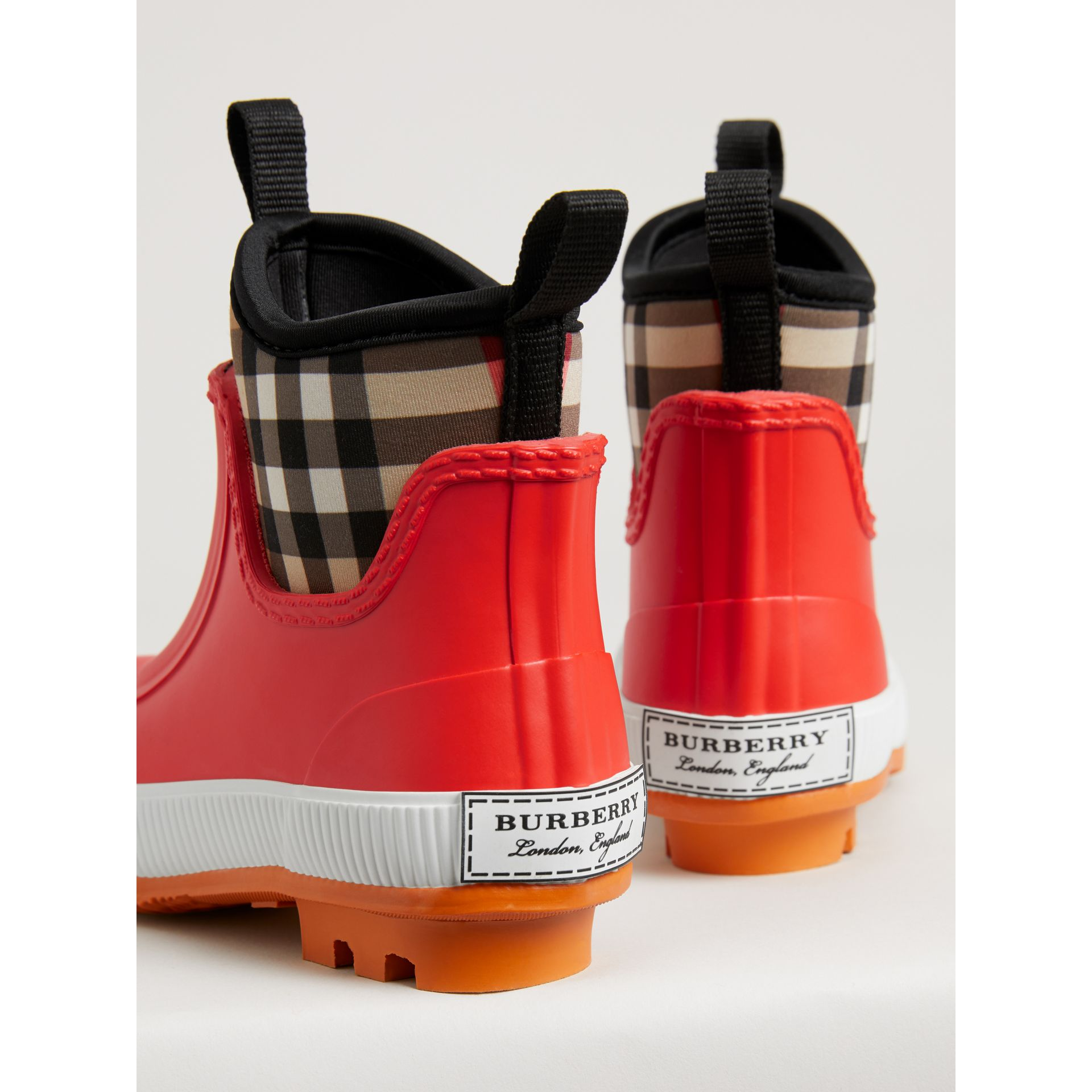 Vintage Check Neoprene and Rubber Rain Boots in Bright Red - Children | Burberry Canada - gallery image 2