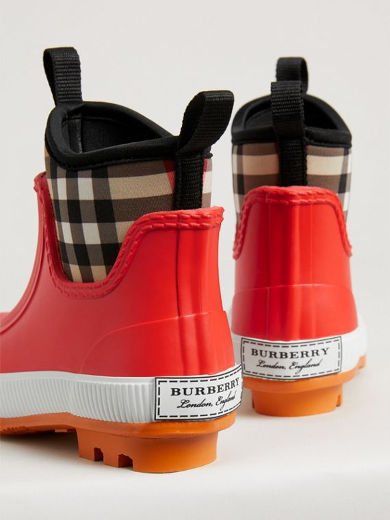 Vintage Check Neoprene and Rubber Rain Boots in Bright Red | Burberry Australia - cell image 2