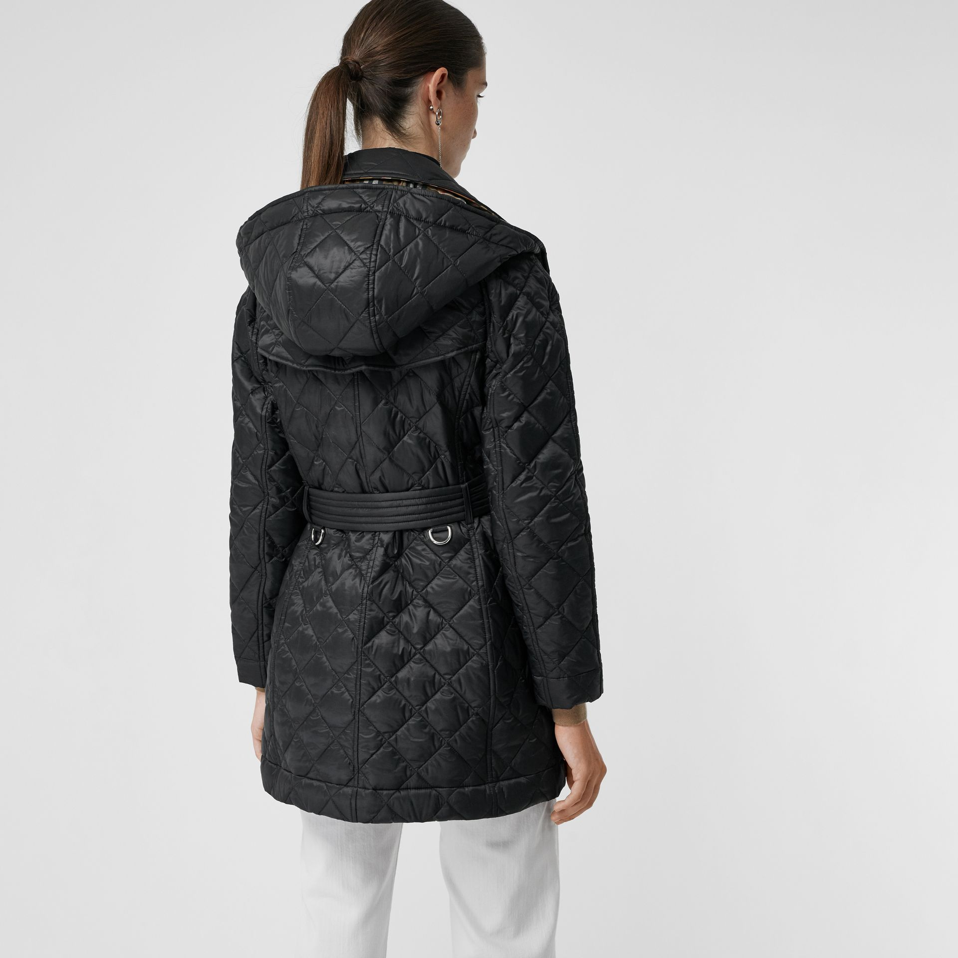 Detachable Hood Lightweight Diamond Quilted Coat in Black - Women | Burberry - gallery image 2
