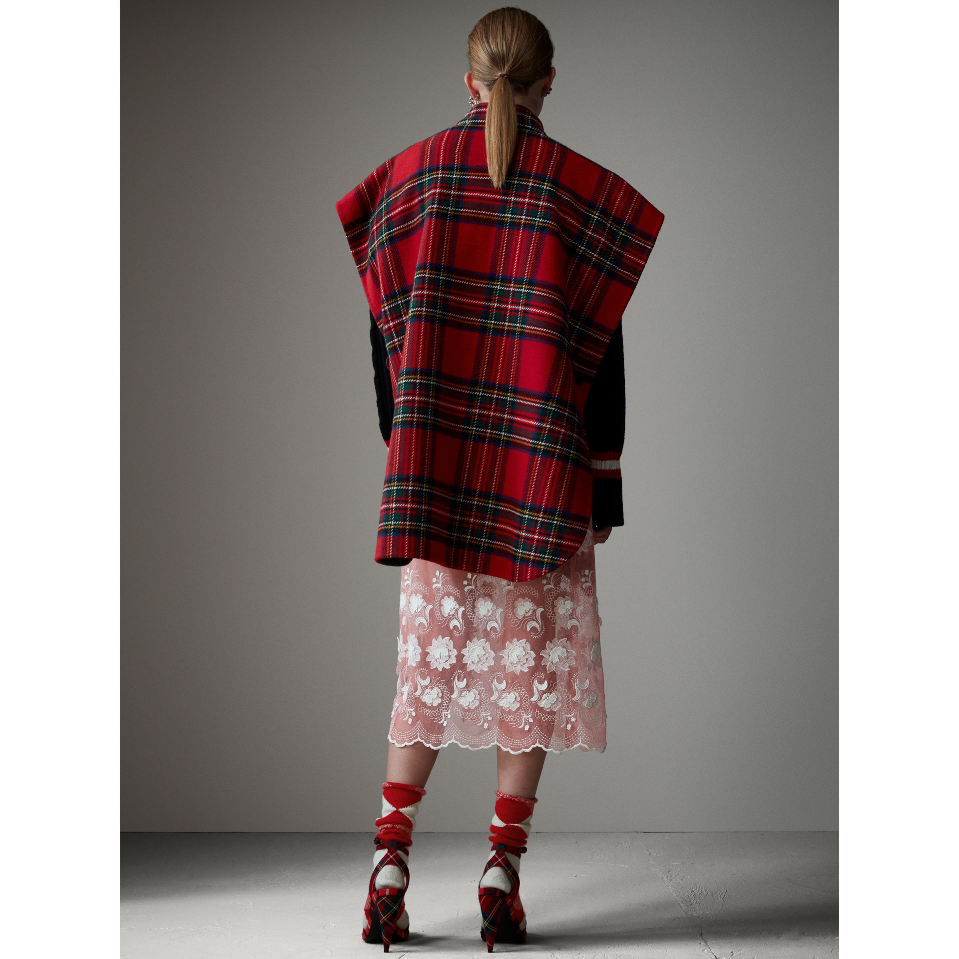 Reversible Tartan Wool Cashmere Poncho in Bright Red/dark Grey - Women | Burberry - gallery image 2