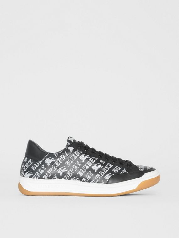 EKD Logo Print Leather Sneakers in Black