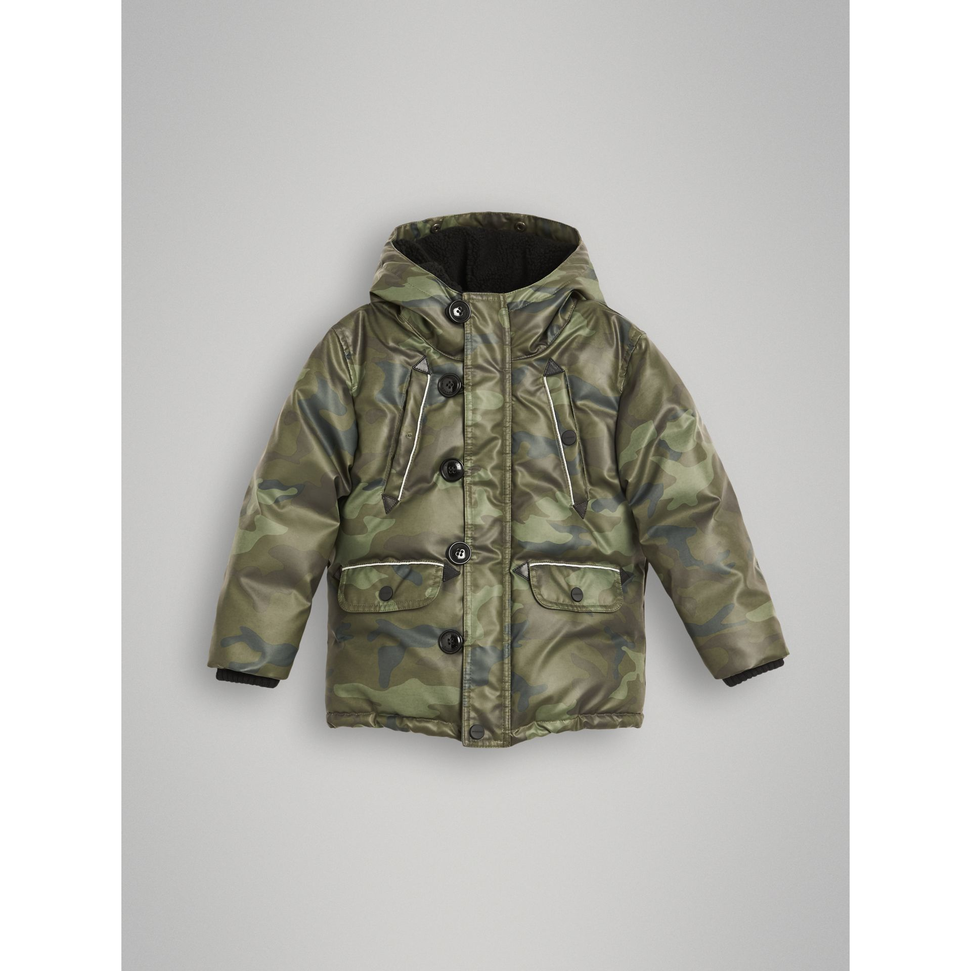 Camouflage Print Down-filled Puffer Jacket in Khaki - Children | Burberry United States - gallery image 0