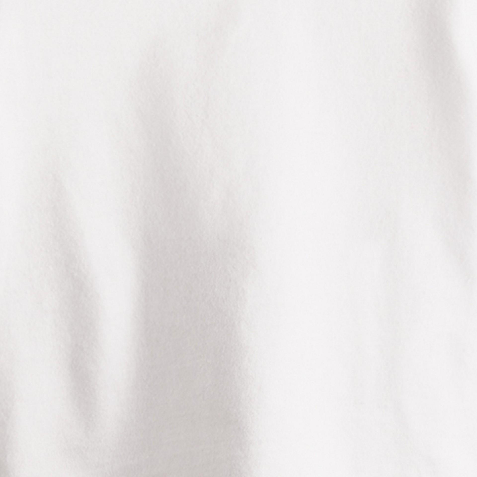White Check Cuff Cotton T-Shirt - gallery image 2