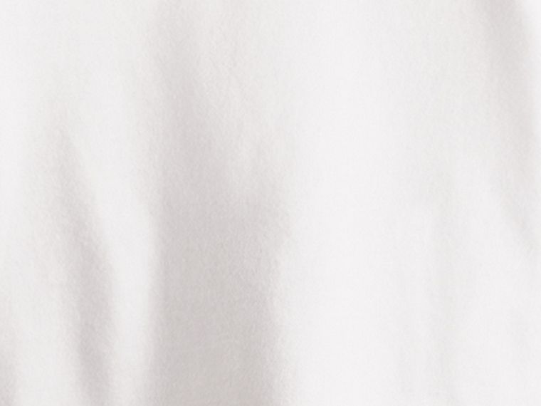 White Check Cuff Cotton T-Shirt - cell image 1
