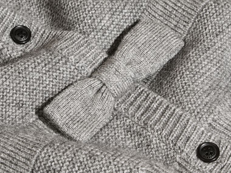Mid grey melange Multi-stitch Cashmere Cotton Cardigan - cell image 1