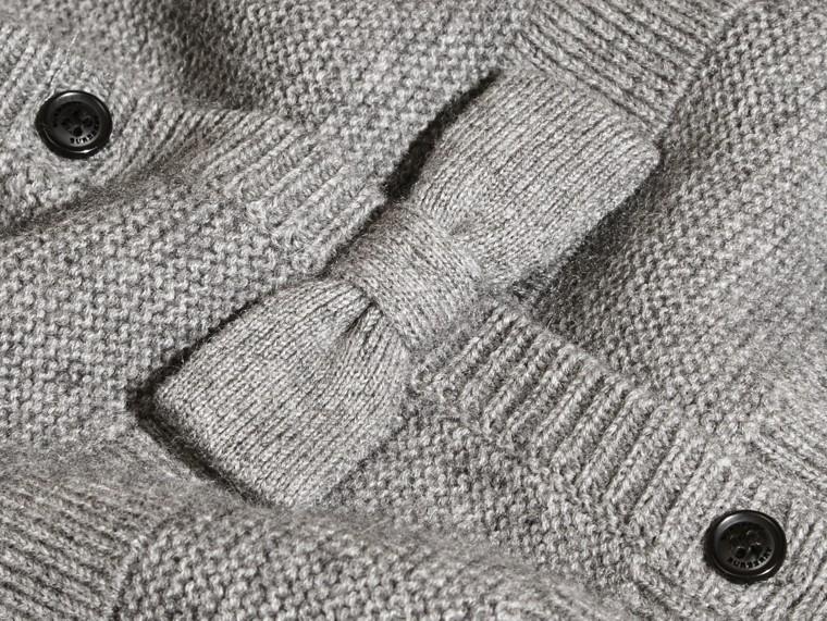 Grigio medio mélange Cardigan in cashmere e cotone con impunture multiple - cell image 1