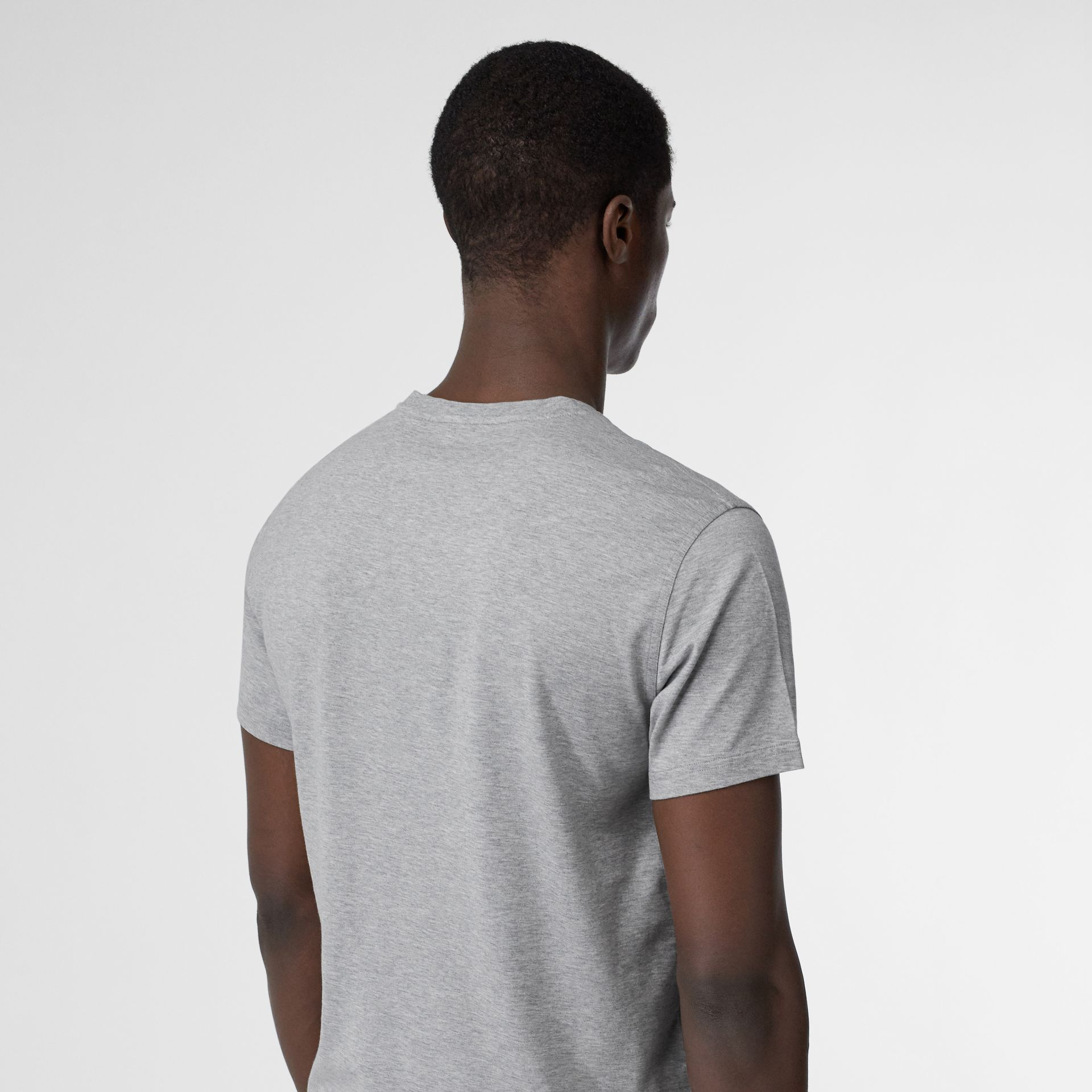 Monogram Motif Cotton V-neck T-shirt in Pale Grey Melange - Men | Burberry United Kingdom - gallery image 2