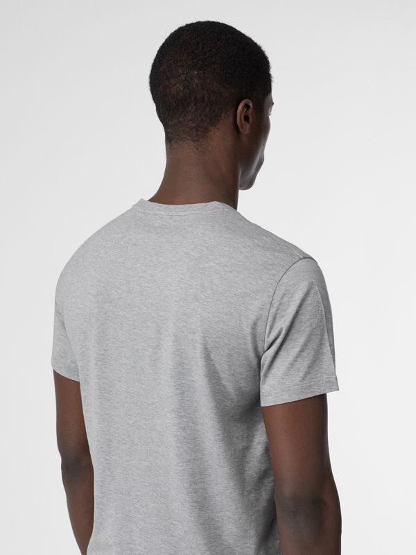 Monogram Motif Cotton V-neck T-shirt in Pale Grey Melange - Men | Burberry - cell image 2