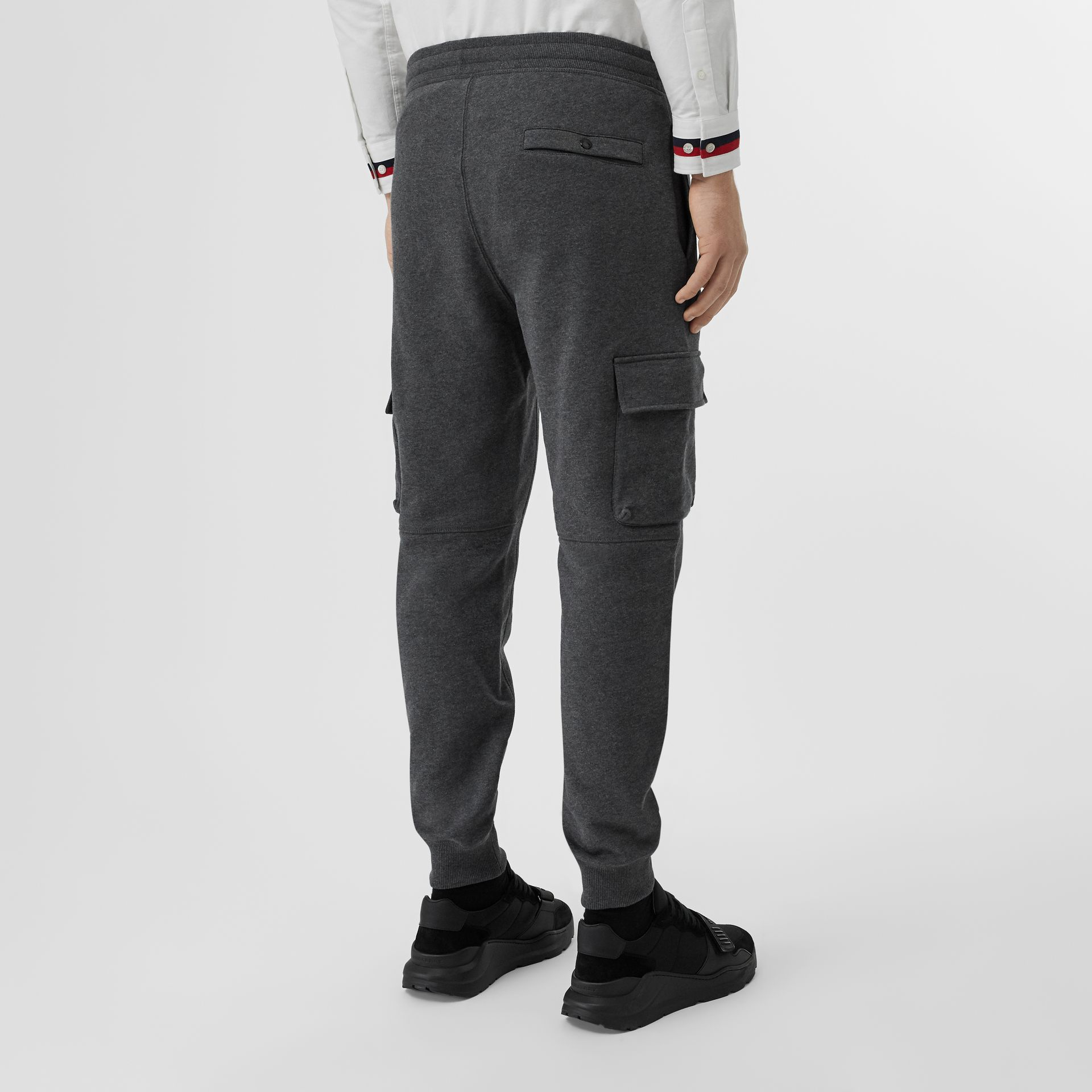Pocket Detail Cotton Jersey Trackpants in Mid Grey Melange - Men | Burberry - gallery image 2