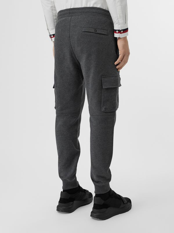 Pocket Detail Cotton Jersey Trackpants in Mid Grey Melange - Men | Burberry Canada - cell image 2