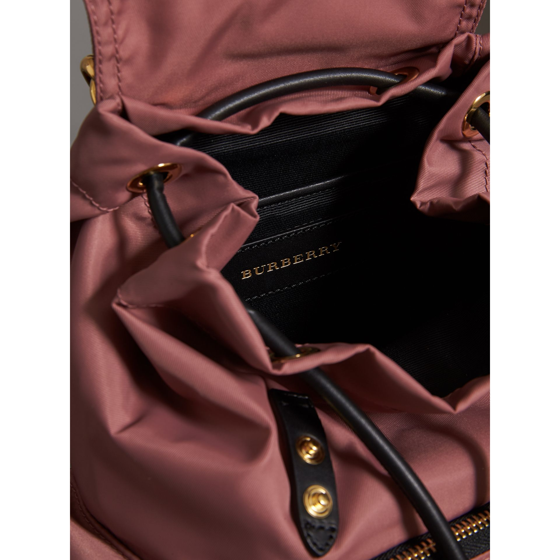 The Crossbody Rucksack in Nylon and Leather in Mauve Pink - Women | Burberry - gallery image 5