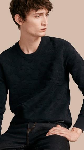 Textured Camouflage Cotton Blend Sweatshirt