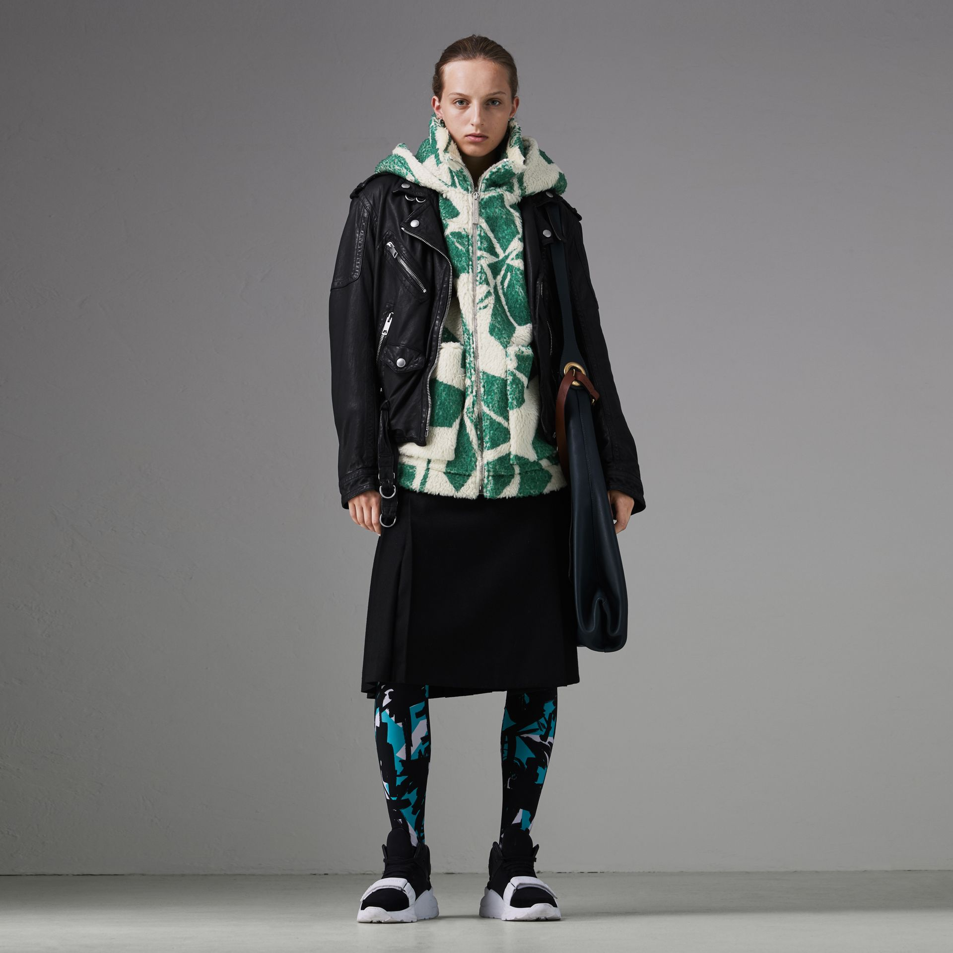 Floral Print Cashmere-silk Fleece Zipped Hoodie in Forest Green - Women | Burberry Canada - gallery image 0