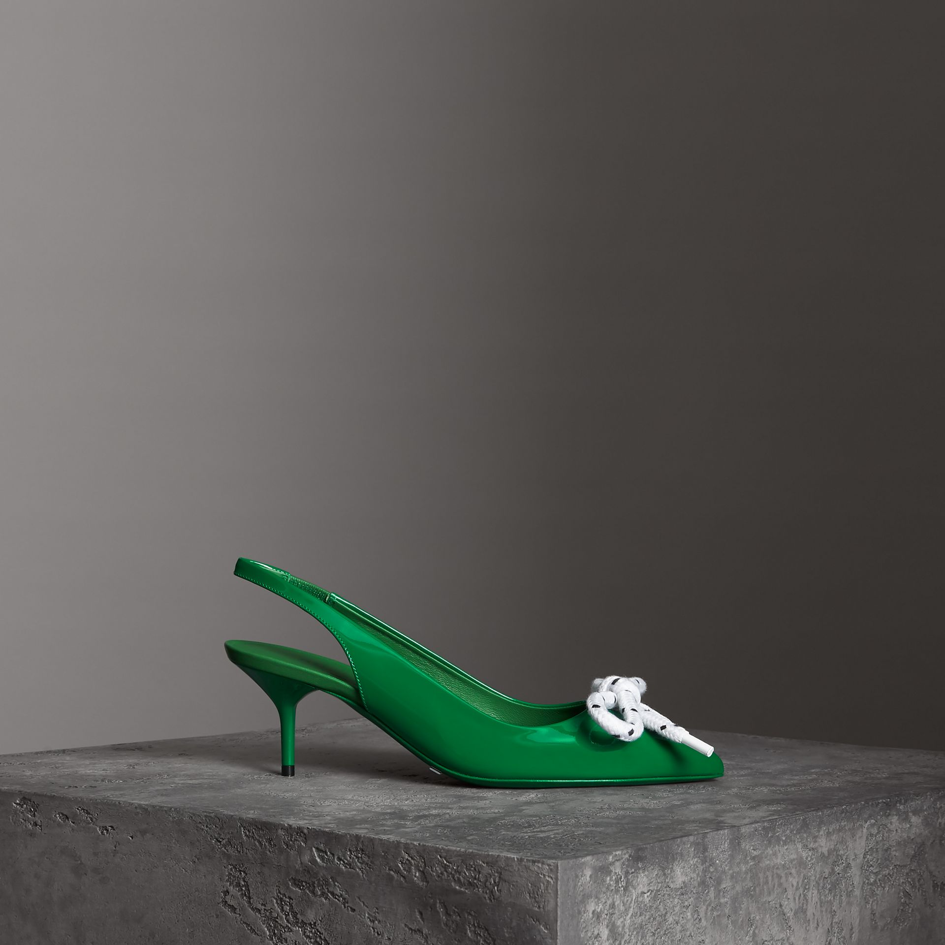 Rope Detail Patent Leather Slingback Pumps in Bright Pigment Green - Women | Burberry - gallery image 0