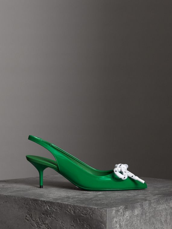 Rope Detail Patent Leather Slingback Pumps in Bright Pigment Green