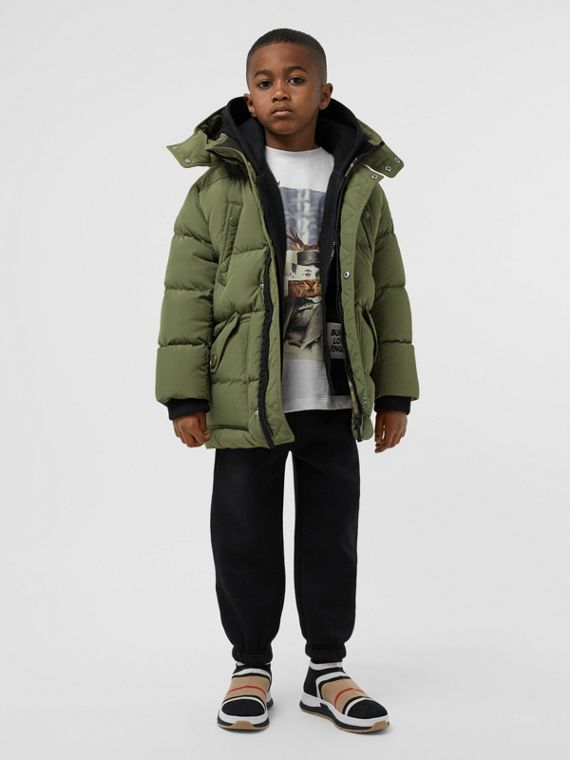 Detachable Hood Down-filled Puffer Coat in Poplar Green