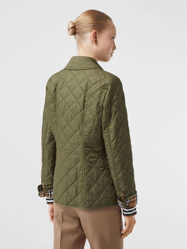 Diamond Quilted Jacket in Olive Green - Women | Burberry - cell image 2