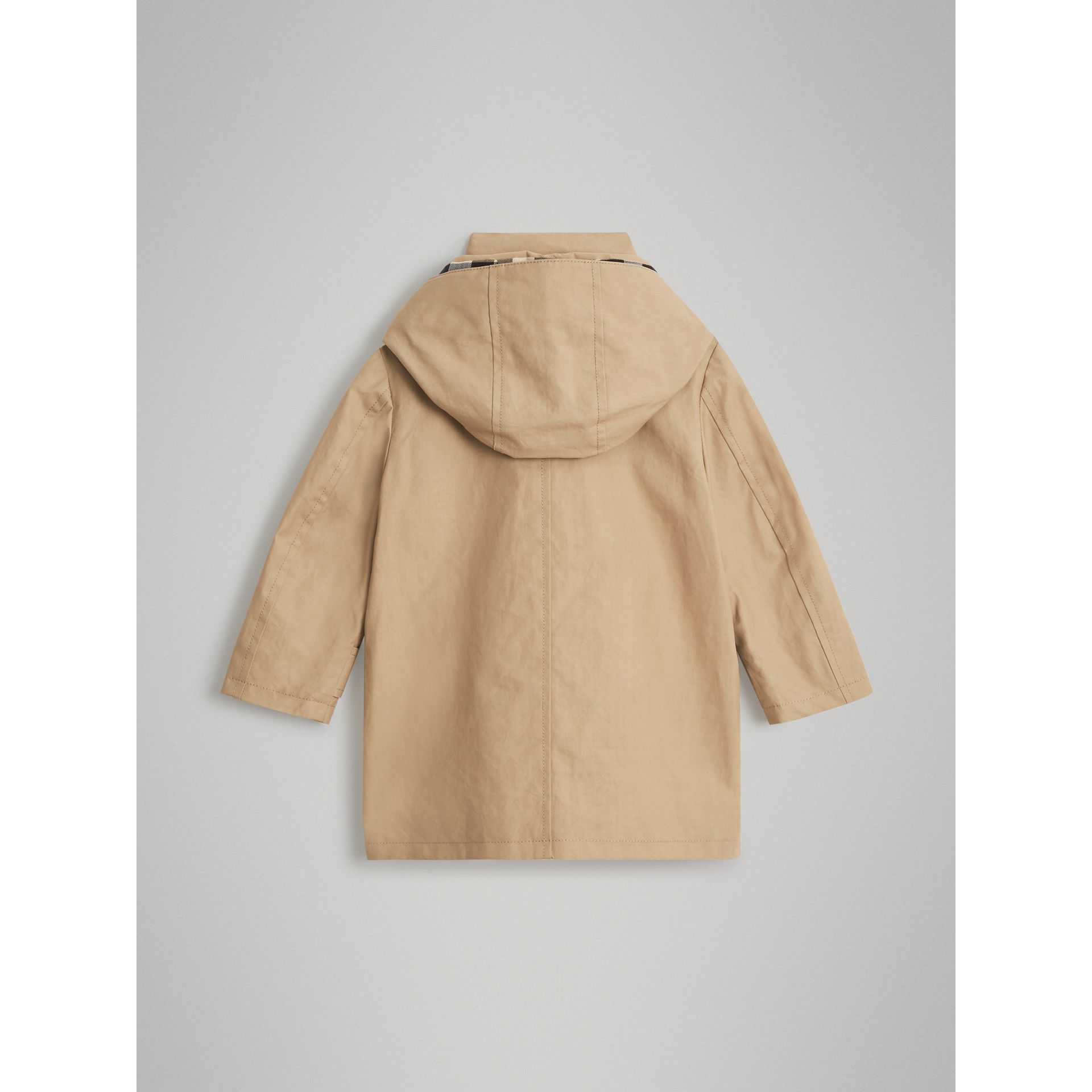 Detachable Hood Mercerised Cotton Trench Coat in Honey - Children | Burberry United States - gallery image 3