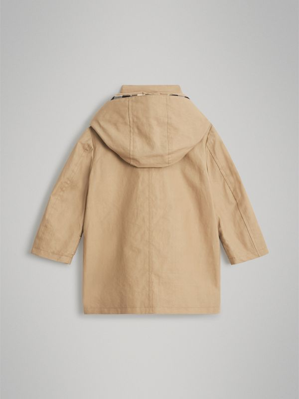 Detachable Hood Mercerised Cotton Trench Coat in Honey - Children | Burberry - cell image 3