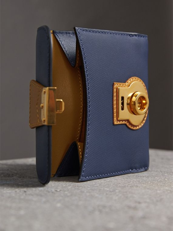 Two-tone Trench Leather Wallet in Ink Blue/ochre Yellow - Women | Burberry - cell image 3
