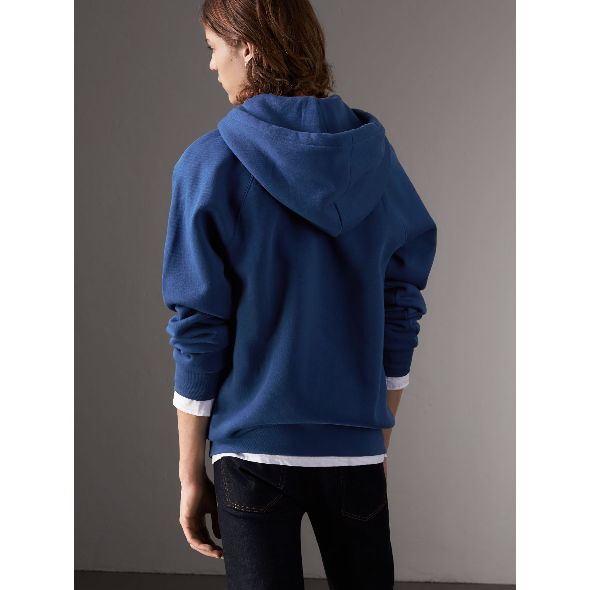 Embroidered Hooded Sweatshirt in Bright Blue - Men | Burberry United Kingdom - gallery image 3