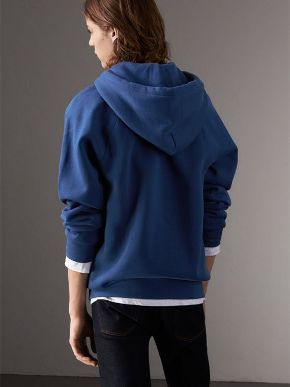 Embroidered Hooded Sweatshirt in Bright Blue - Men | Burberry United Kingdom - cell image 2