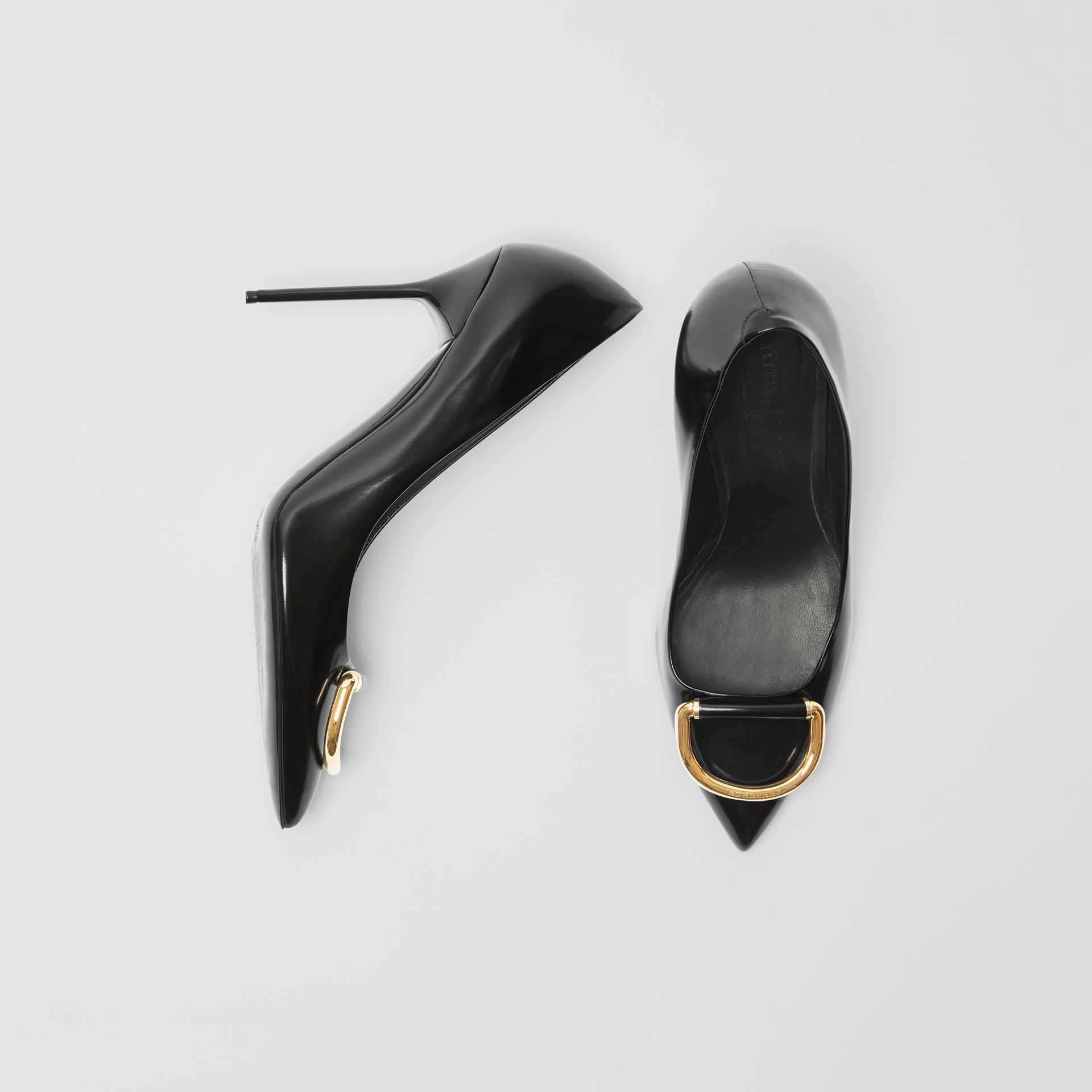 The Leather D-ring Stiletto in Black/gold - Women | Burberry United Kingdom - gallery image 0