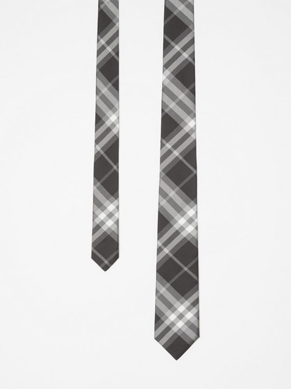 Modern Cut Vintage Check Silk Tie in Black