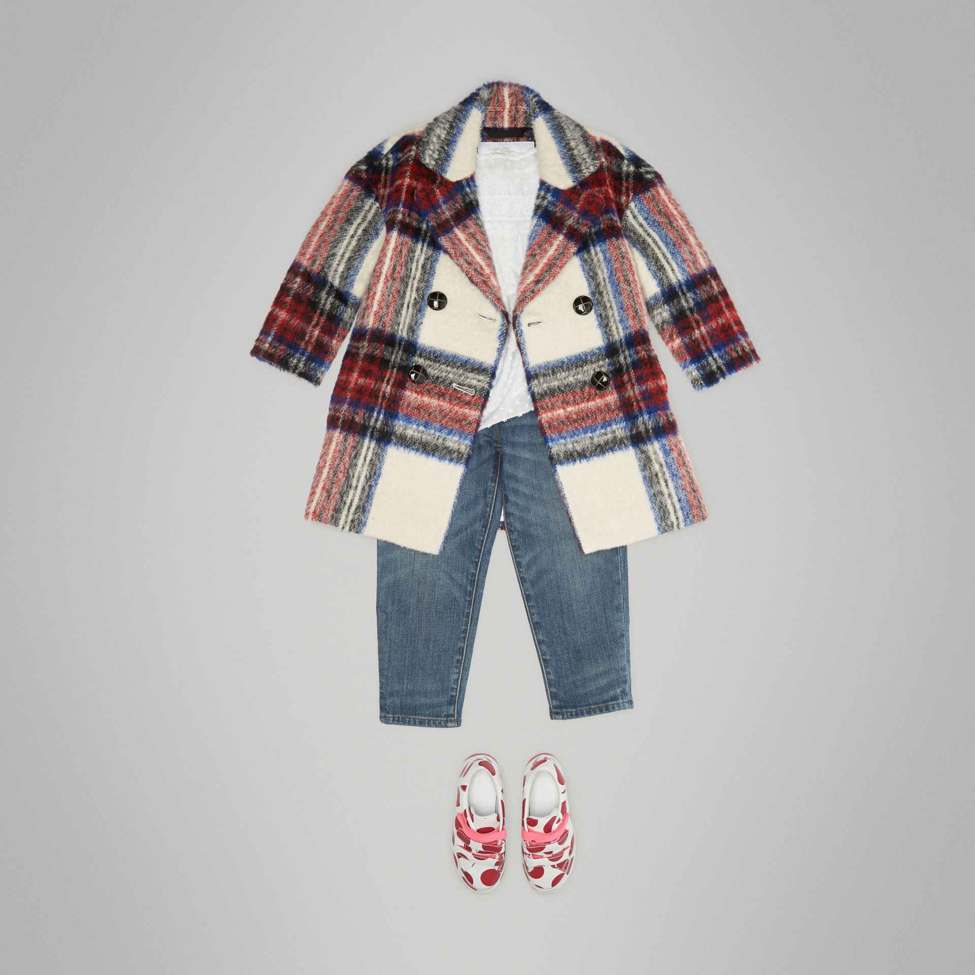 Tartan Wool Alpaca Blend Tailored Coat in Natural White - Children | Burberry - gallery image 2