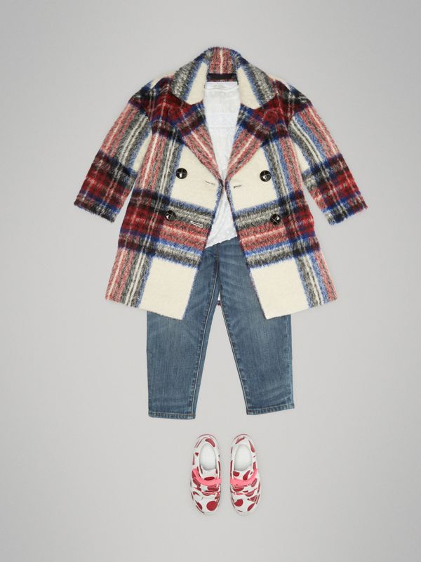 Tartan Wool Alpaca Blend Tailored Coat in Natural White - Children | Burberry - cell image 2