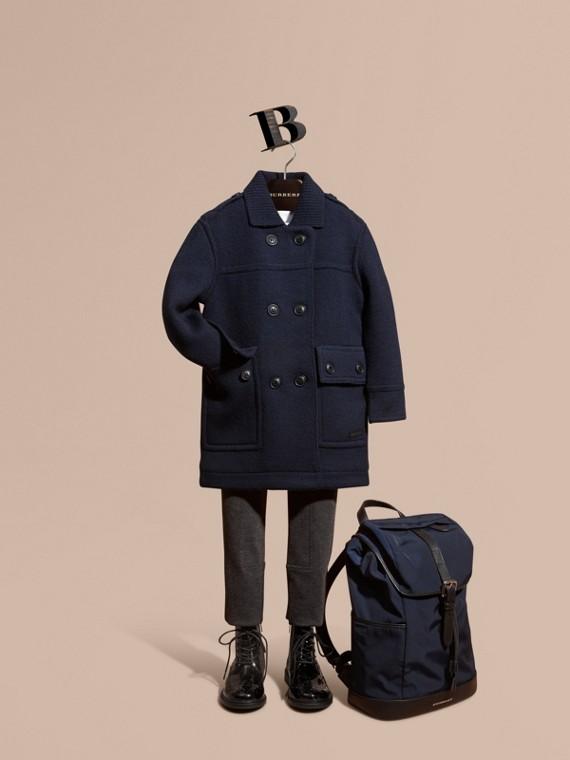 針織美麗諾羊毛水手短大衣