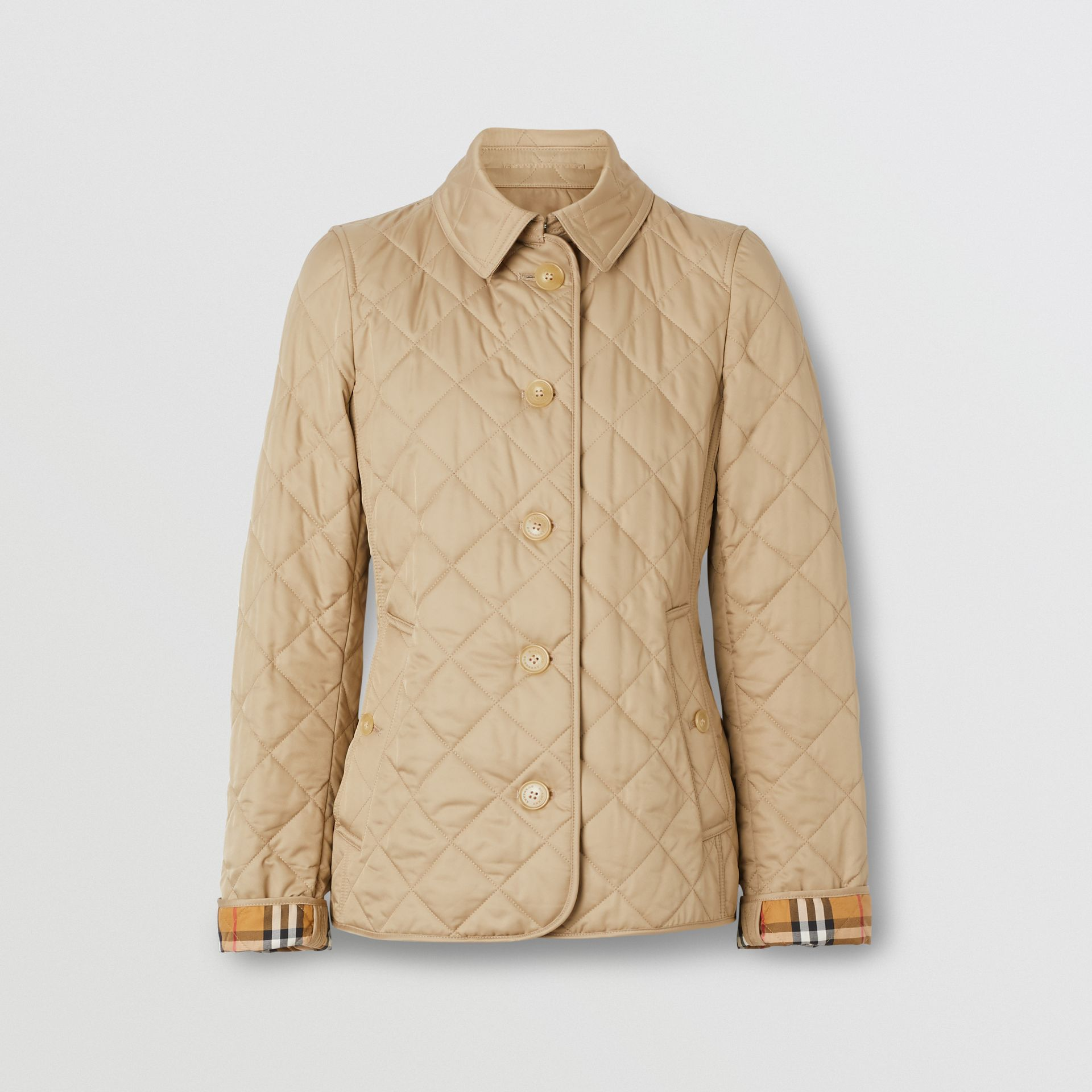 Diamond Quilted Jacket in Canvas - Women | Burberry United Kingdom - gallery image 3