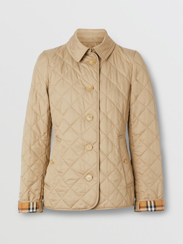Diamond Quilted Jacket in Canvas - Women | Burberry - cell image 3