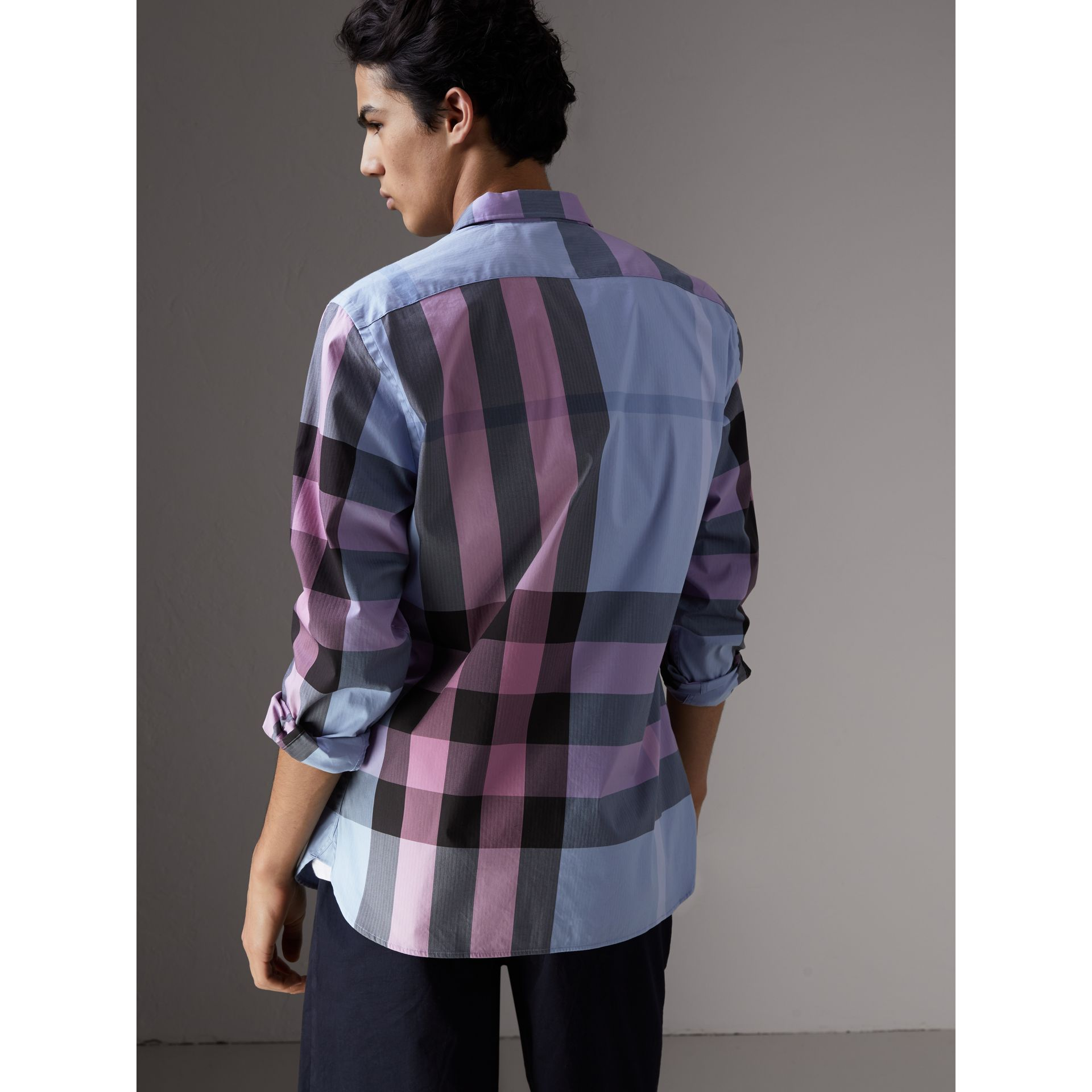 Button-down Collar Check Stretch Cotton Blend Shirt in Chalk Blue - Men | Burberry United Kingdom - gallery image 2