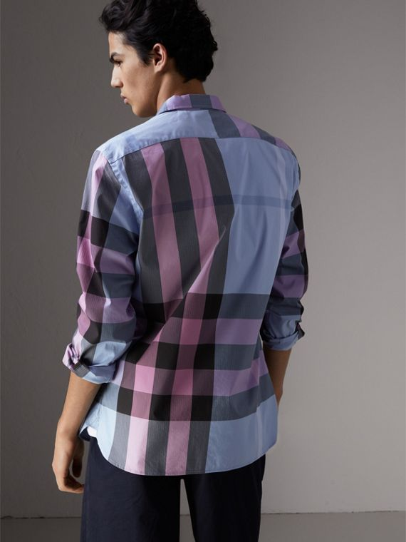 Button-down Collar Check Stretch Cotton Blend Shirt in Chalk Blue - Men | Burberry - cell image 2