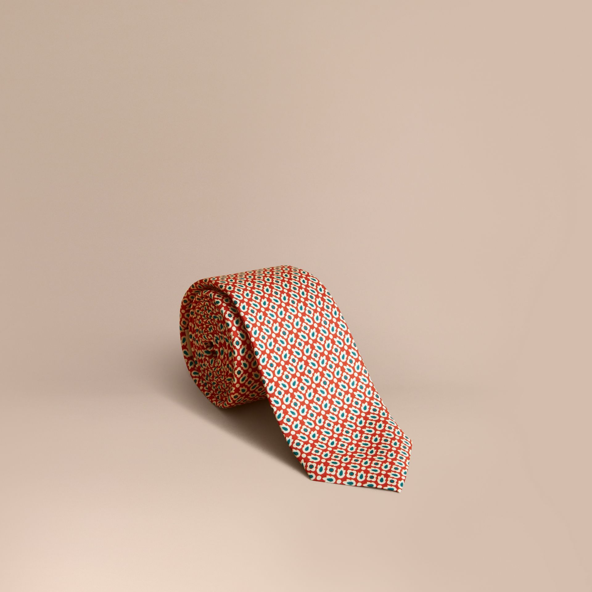 Slim Cut Abstract Floral Silk Tie in Military Red - Men | Burberry - gallery image 1