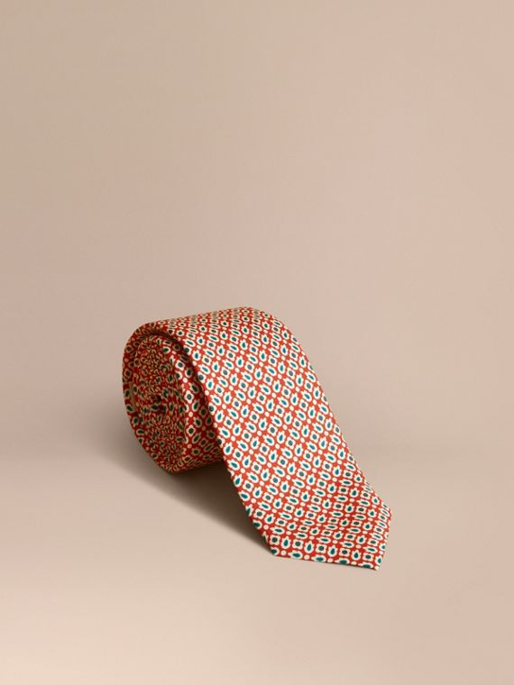 Slim Cut Abstract Floral Silk Tie in Military Red