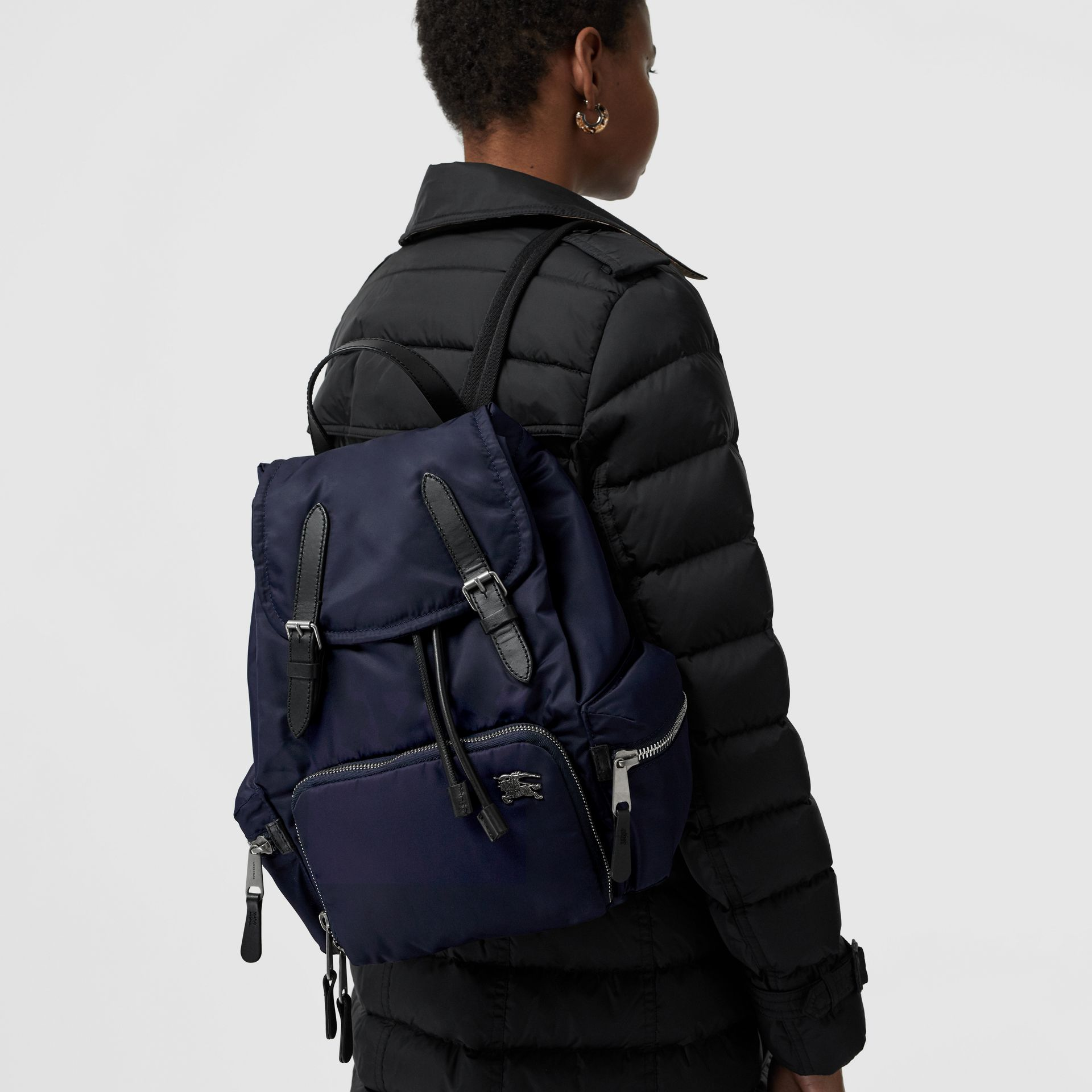 The Medium Rucksack in Puffer Nylon and Leather in Ink Blue - Women | Burberry United Kingdom - gallery image 5