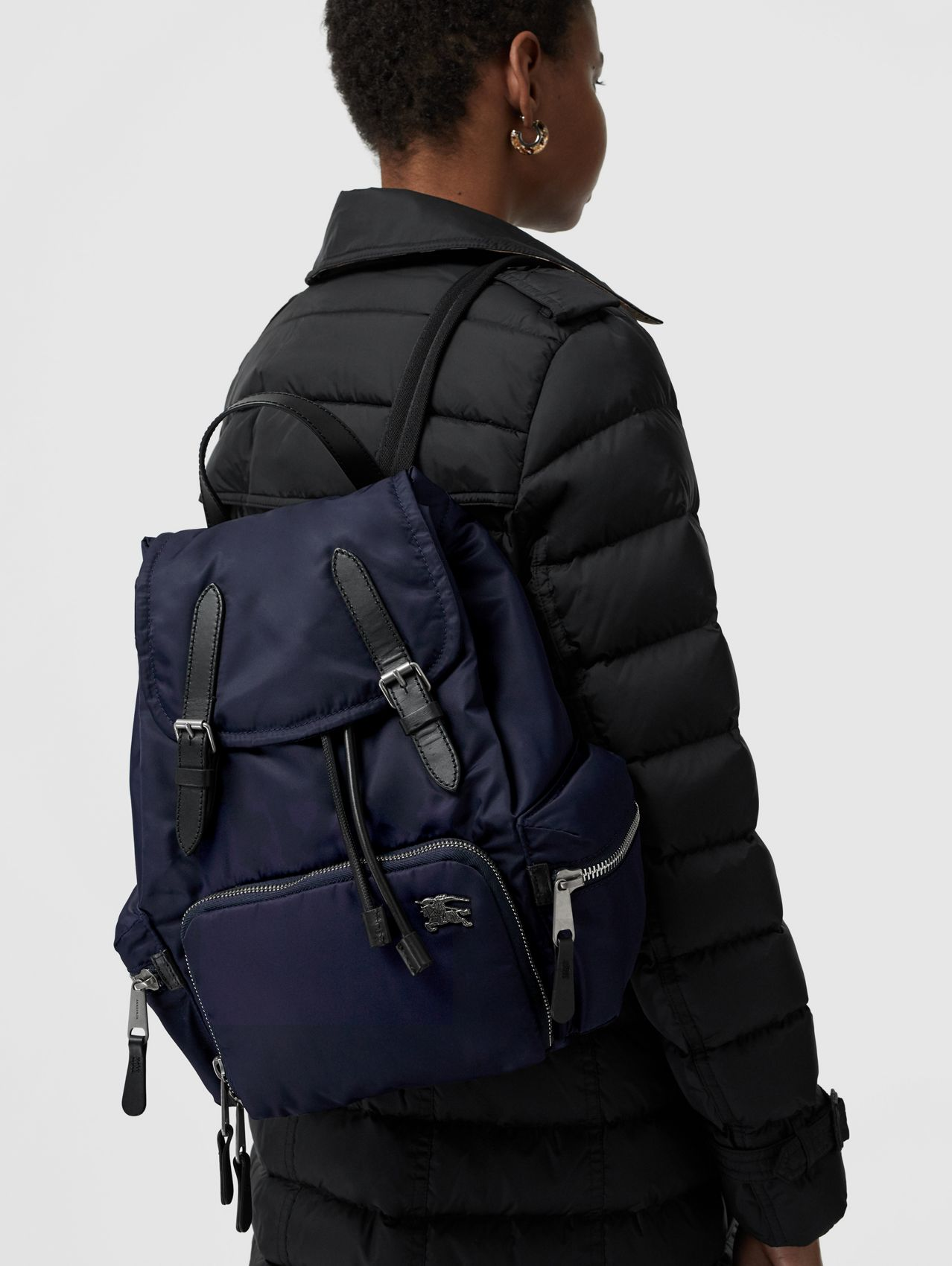 The Medium Rucksack in Puffer Nylon and Leather in Ink Blue