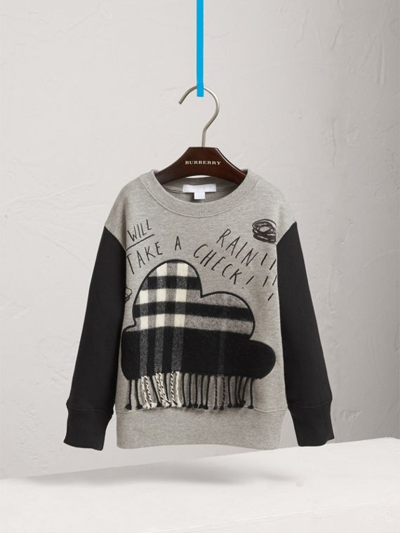 Weather Motif Cotton Sweatshirt in Black - Boy | Burberry - cell image 2