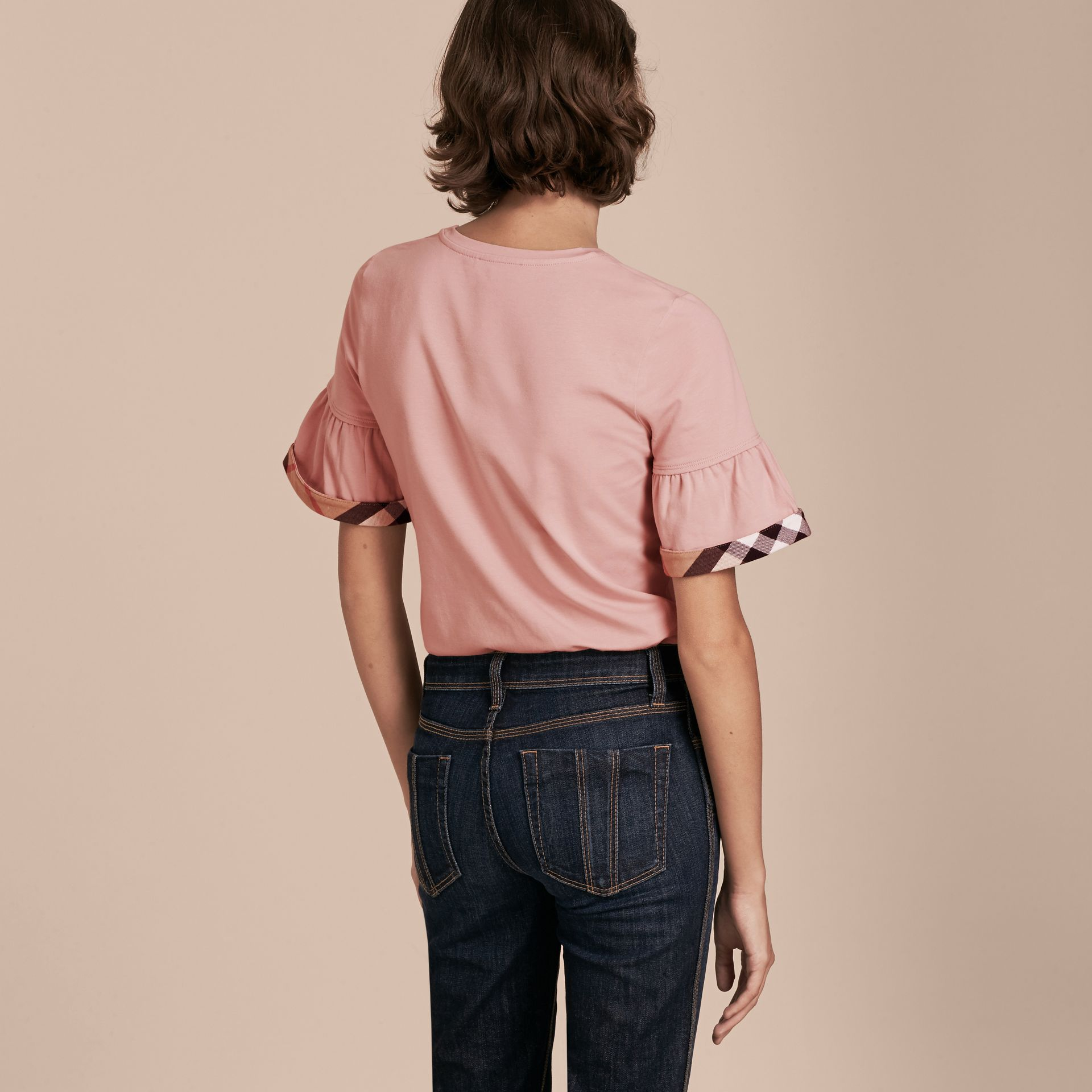 Ash rose Stretch Cotton T-shirt with Check Trim Ruffles Ash Rose - gallery image 3