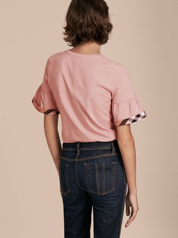 Stretch Cotton T-shirt with Check Trim Ruffles in Ash Rose - cell image 2
