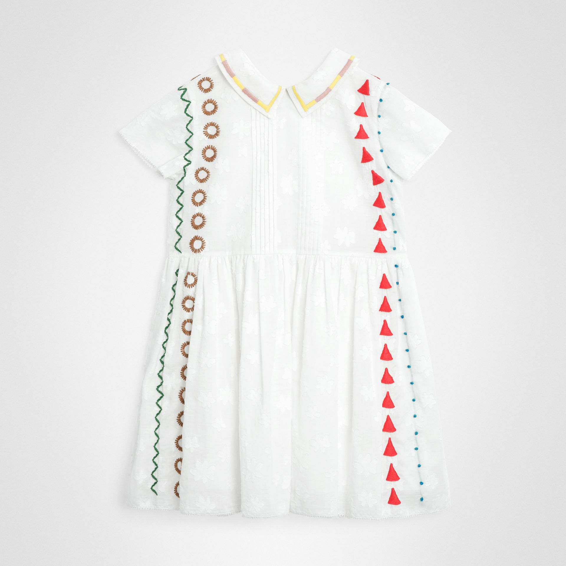 Peter Pan Collar Embroidered Cotton Dress in White | Burberry - gallery image 0