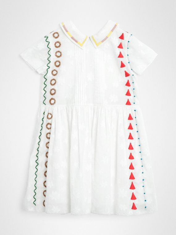 Peter Pan Collar Embroidered Cotton Dress in White