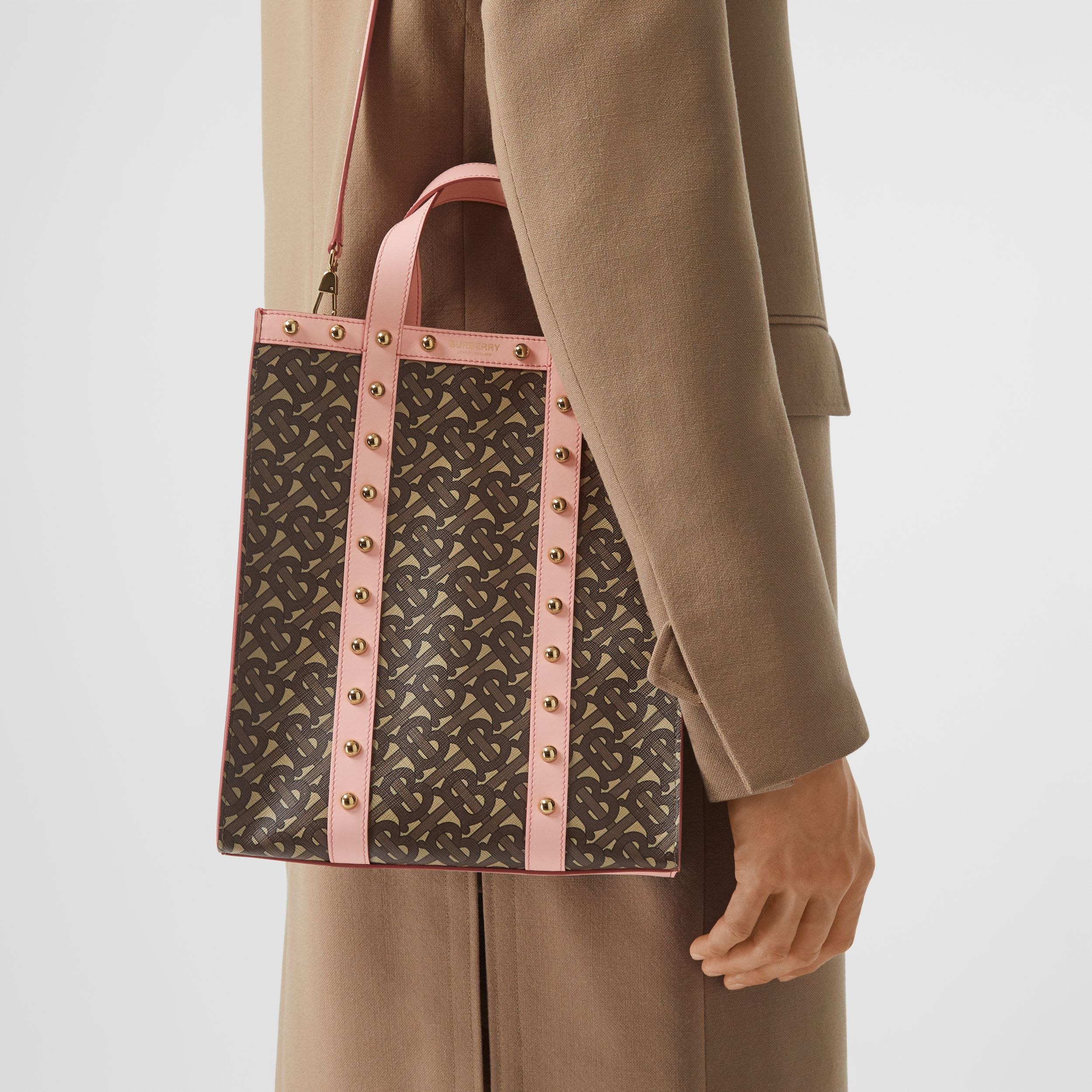 Small Monogram Print E-canvas Portrait Tote Bag in Cloud Pink - Women | Burberry - 4