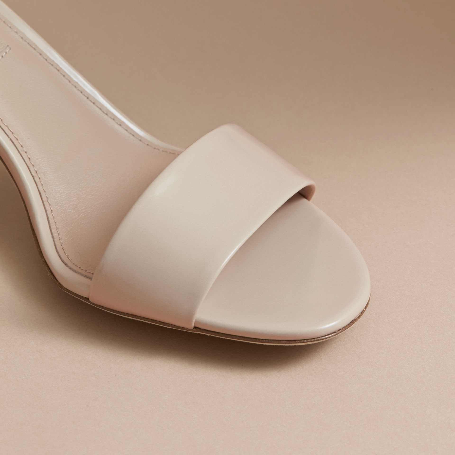 Buckle Detail Patent Leather Sandals in Pale Taupe - Women | Burberry - gallery image 2