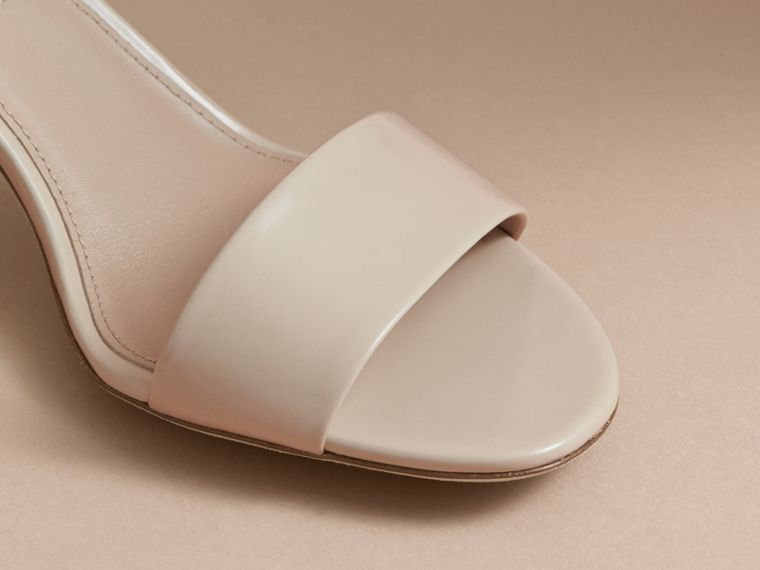 Buckle Detail Patent Leather Sandals in Pale Taupe - Women | Burberry - cell image 1
